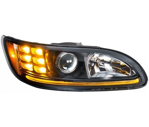 PETERBILT 386/384/387 PROJECTION HEADLIGHT W/ LED POSITION LIGHT & LED TURN  SIGNAL 2008 & UP (BLACK HOUSING) - RH