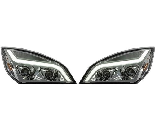 FREIGHTLINER CASCADIA 2018 & UP LED BAR HEADLIGHT (PAIR) (CHROME HOUSING)