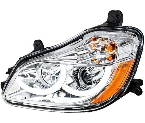 KENWORTH T680 PROJECTION HEADLIGHT W/ LED POSITION LIGHT FITS 2013 & UP  (CHROME) - LH